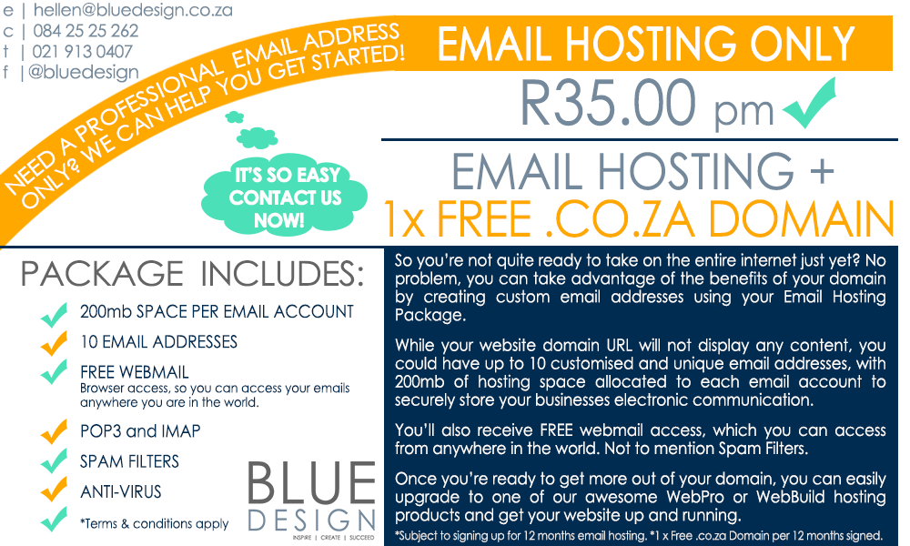 Email-Hosting-Only-R35pm-+-Free-Domain-Registration - www.bluedesign.co.za Blue Design Hosting